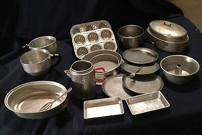 Vintage Aluminum / Tin Toy Bake and Cook Set