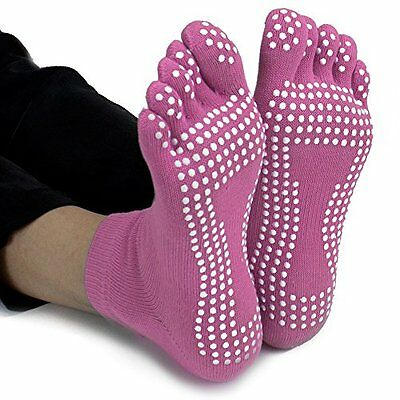 Crown Sporting Goods Yoga Toe Socks with Slip-Free Silicone Texturizing Bea