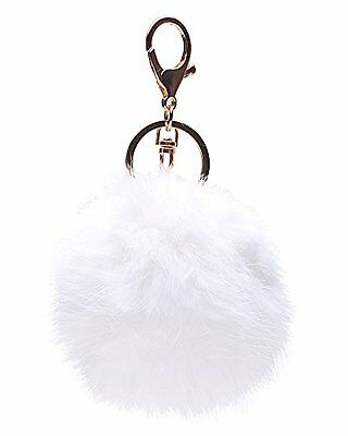 18 K Gold Plated Keychain with Plush Cute Genuine Rabbit Fur Key Chain for