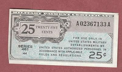 1946-47 US Military Payment Certificate 25 Cents, Currency Series 461  w/ Miscut
