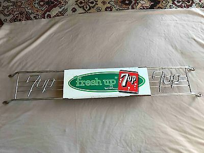 Old Fresh Up with 7up Seven Up Advertising Door Push Soda Sign