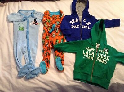 Lot Of 4 Size 9 Months Zip Up Hoodies And Pj's