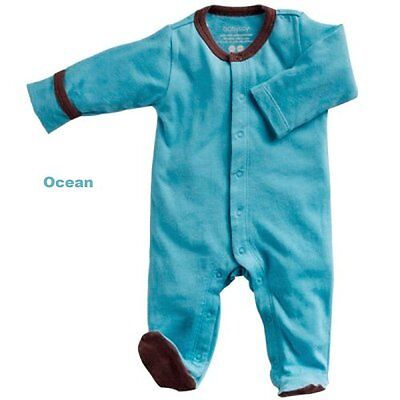 Babysoy Baby Boys' Footed One Piece - Blue - 0-3 Months