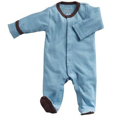 Babysoy Baby Boys' Footed One Piece - Blue - 3-6 Months