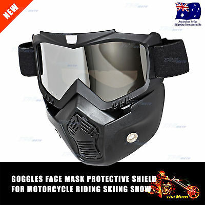 Modular Motorcycle Riding Helmet Open Face Mask Shield Goggles Detachable Black