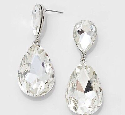 "1.5"" Bridal Long Drop White Silver Clear Rhinestone Crystal Wedding Earrings"