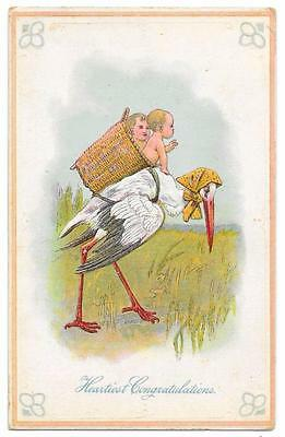 Stork With a Wicker Basket Backpack and Two Babies - Vintage Embossed Postcard
