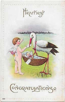 Stork with a Basket and Baby & a Cherub - Vintage Embossed New Baby Postcard