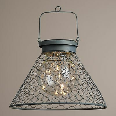 Home Decor Light Antique Rustic Glass Indoor Outdoor Gray Wire Solar LED Lantern