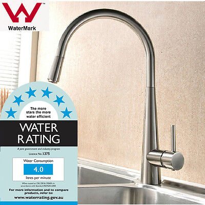 Brushed Nickel Retracable Pull Out / Down Kitchen Faucet Mixer Water Tap Brass