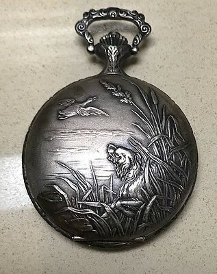 Vintage Incabloc Arleese' 17 Jewel Hunting Dog Themed Swiss Made Pocket Watch!
