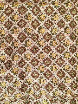 cottage VTG fabric curtain panel topper valance yellow green brown floral print