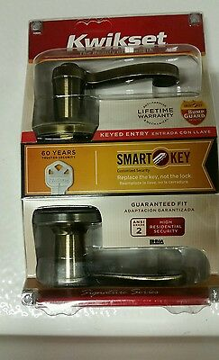 Kwikset Lido Entry Lever Featuring Smartkey® In Antique Brass