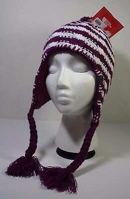 NWT THE NORTH FACE Fuzzy Plush Earflap Lined Beanie Purple/White Youth Girls S