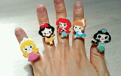 10Pcs Kids Girls Princess Adjustable Rings Beauty&Beast Snow White Cinderella