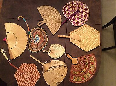 Lot Of 9 Unique Vintage Colorful Hand Held Fans Woven Straw Wood