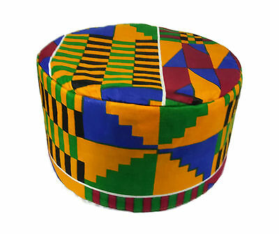 African Kufi Kente Print Hat Unisex Traditional Cap Black History Month Size64cm
