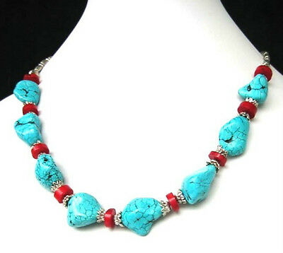 Natural Turquoise Red Coral Beads Necklace Refined Tibetan Silver Stunning