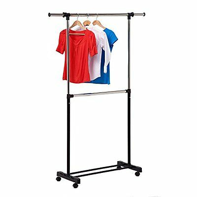 Honey-Can-Do GAR-01767 Dual Rod Expandable Garment Rack with Wheels, Up to
