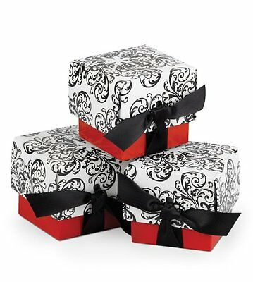 Hortense B. Hewitt Wedding Accessories Favor Boxes, Black and White Filigre