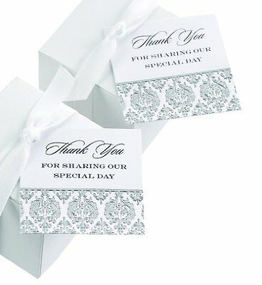 Hortense B. Hewitt Wedding Accessories Damask Favor Cards, 25 Count