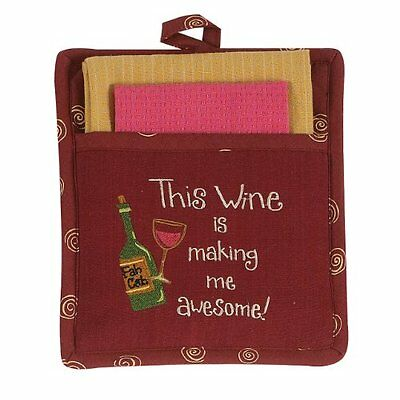 Kay Dee Designs Awesome Wine 3-Piece Cotton Embroidered Pocket Mitt/Dishclo