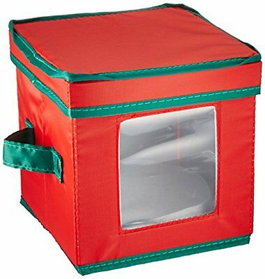 Household Essentials Holiday Dinnerware Storage Chest for Saucers, Red with
