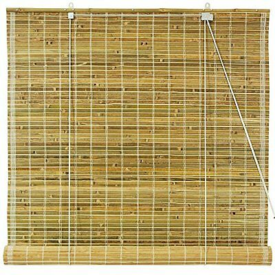Oriental Furniture Burnt Bamboo Roll Up Window Blinds, Natural, 60-Inch Wid