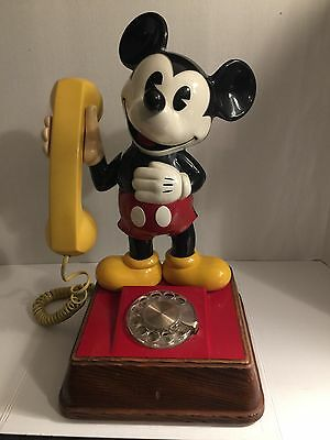 Vintage Disney Mickey Mouse Yellow Rotary Phone