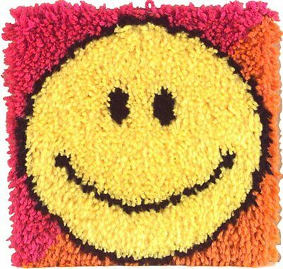 Caron Natura 12x12 Latch Hook Kit: Smiley Face