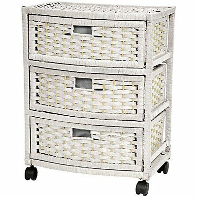 """Oriental Furniture 23"""" Natural Fiber Chest of Drawers - Whit"""