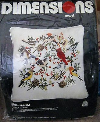 American Birds 1026 Crewel Embroidery Pillow Kit Dimensions 1978 Retired