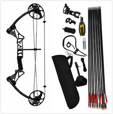 20 -70LB Compound Bow and Arrow Archery Hunting Target CNC Black Right Bow