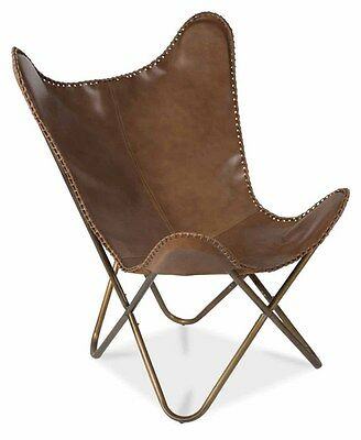 Leather Butterfly Chair with Antique Brass Frame