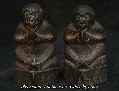 16CM Chinese Stone Carving Fengshui Zodiac Year Monkey Hold Peach Statue Pair