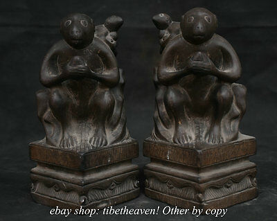 21CM China Stone Carving Fengshui Zodiac Year Monkey Mother And Son Statue Pair