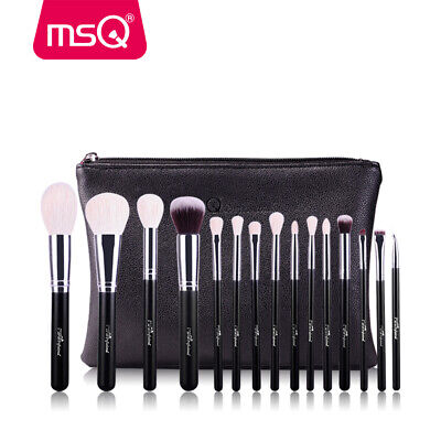 15Pcs Professional Makeup Brushes Set Powder Cosmetic Tool Natural Hair Case MSQ