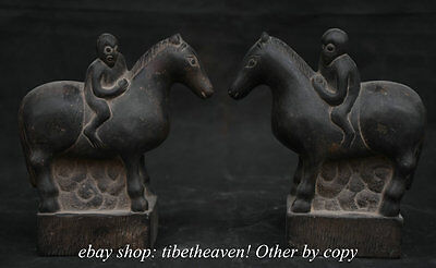 19CM China Carving Stone Fengshui Monkey Ride Horse Success Lucky Sculpture Pair