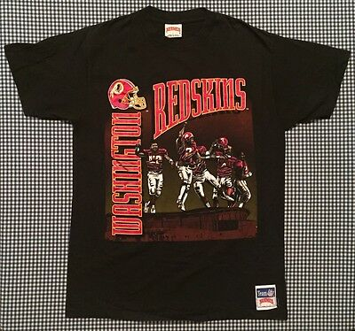 Vintage Washington Redskins Graphic T-Shirt Size Large Nutmeg Mills Black NFL