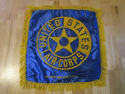 Vintage WWII US Army Air Corps Columbus Army Flying School Satin Pillow Cover