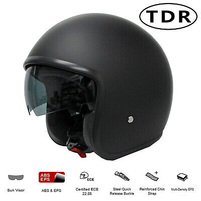 Motorcycle Helmet Matt Black Open Face Australian Approved Harley + Goggles Mask