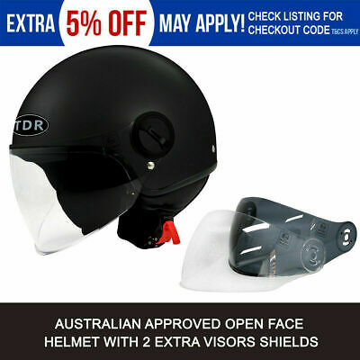 Motorcycle Helmet Matt Old Style Black Approved Open Face Helmet + Goggles Mask