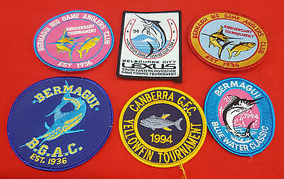 Fishing Tournament Patches Lot Of 6 Mixed Sizes