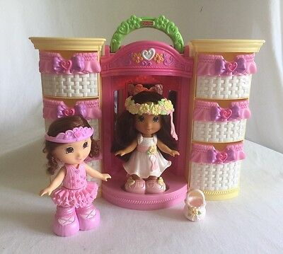 2 Fisher-Price Snap n' Style Dolls w/ Wardrobe Carry Case Ballet Fairy Lot B