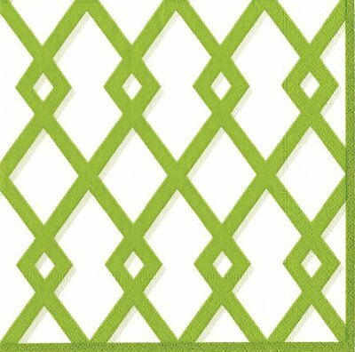 Entertaining with Caspari Cocktail Napkin, Trellis Green, Pack of 20
