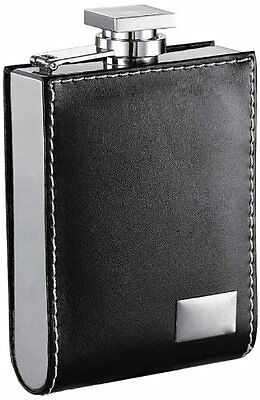 """Visol """"Wallet"""" Stainless Steel Leatherette Liquor Flask with Engraving Plat"""