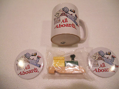 All Aboard (with reading) Mug, Button, and Steam Engine Whistle (gift / toy set)