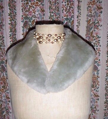 vintage sheepskin collar coat jumper cardigan pale grey lambskin 50s glamour