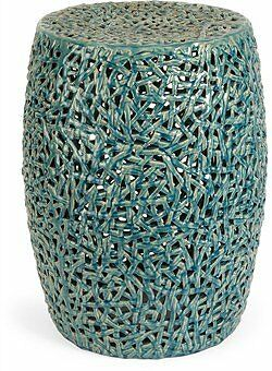 Tobias Cutwork Garden Stool, Blue