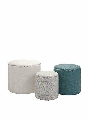 Set of 3 Assorted Claire Ottomans, Multi